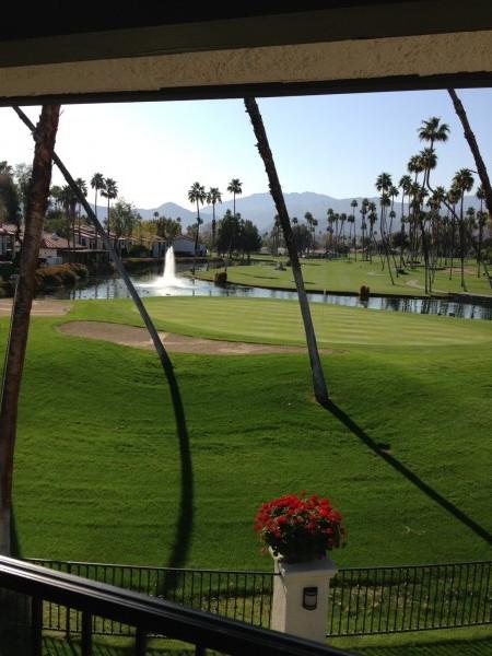 overlooking golf course